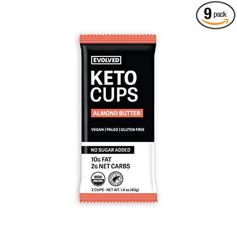 EVOLVED Chocolate Almond Butter Keto Cups, 1.4-oz. 2 Packs (Count of 9)