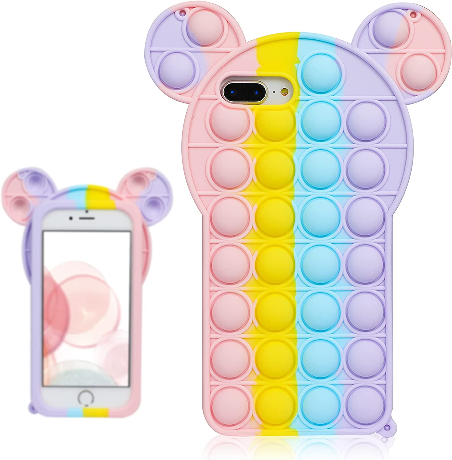 oqpa for iPhone 7 Plus/8 Plus/6 Plus/6S Plus Case Kawaii Funny Cute Fun Silicone Design Cover for Girls Kids Boys Teen Fashion Cool Unique Fidget Mouse Bubble Cases (for iPhone 6/7/8 Plus 5.5