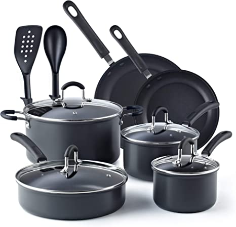 Cook N Home 02581 8-Piece Nonstick Heavy Gauge Copper//Brown Cookware Set