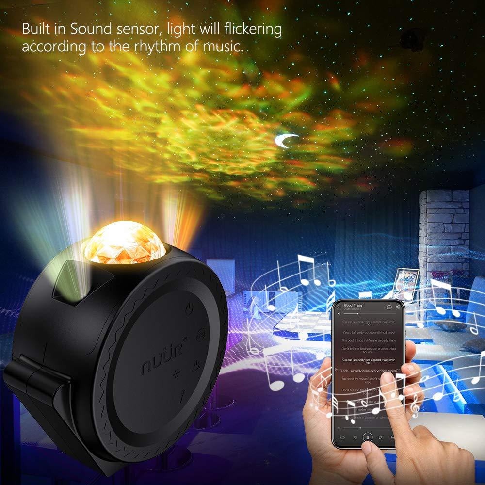 NU/ÜR 3 in 1 Mond Stern Wellen Projektor USB Wiederaufladbar mit 2200mAh Akku Projektor Lampe Ozean Projektor Multi-Modi Sternenhimmel Projektor mit Ton Sensor Funktion f/ür Kinder Erwachsene