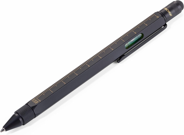TROIKA CONSTRUCTION PIP20/BG - Bolígrafo multitarea (escala 1:20 m y 1:50 m, nivel de burbuja, destornillador plano y de estrella, lápiz capacitivo), color negro y dorado