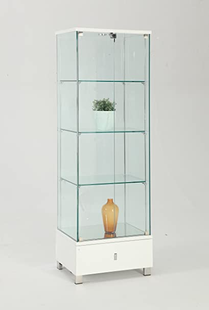 Superbe Chintaly Imports Glass Curio Cabinet, Clear/White