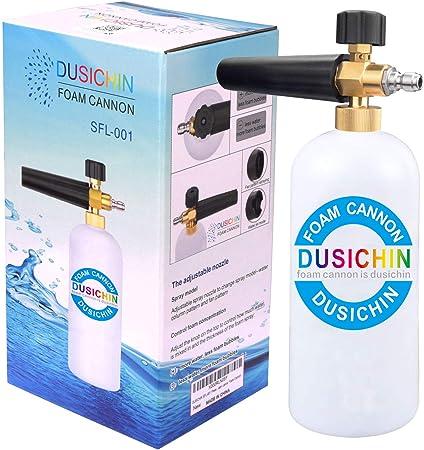 DUSICHIN SFL-001 Foam Cannon Snow Foam Lance Pressure Washer Jet Wash Quick Release Adjustable Nozzle 1/4 Inch Male Fitting Foam Dispenser