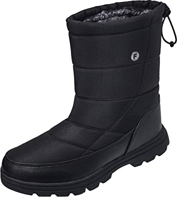 a290acaf3b68 JOINFREE Unisex Mid Calf Boots Warm Waterproof Work Booties for Ice and Snow  Anti-Slip
