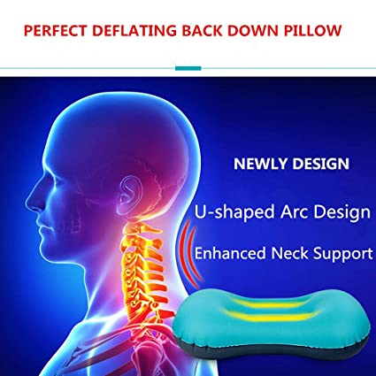 316db13e4 Amazon.com : Shayin Ultralight Inflating Travel Camping Pillows -  Compressible, Compact, Inflatable, Comfortable, Ergonomic Pillow for Neck &  Lumbar Support ...