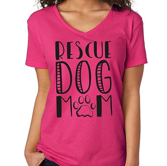 bf9de6edabd7b6 Amazon.com  SignatureTshirts Women s Rescue Dog Mom V-Neck T-Shirt  Clothing