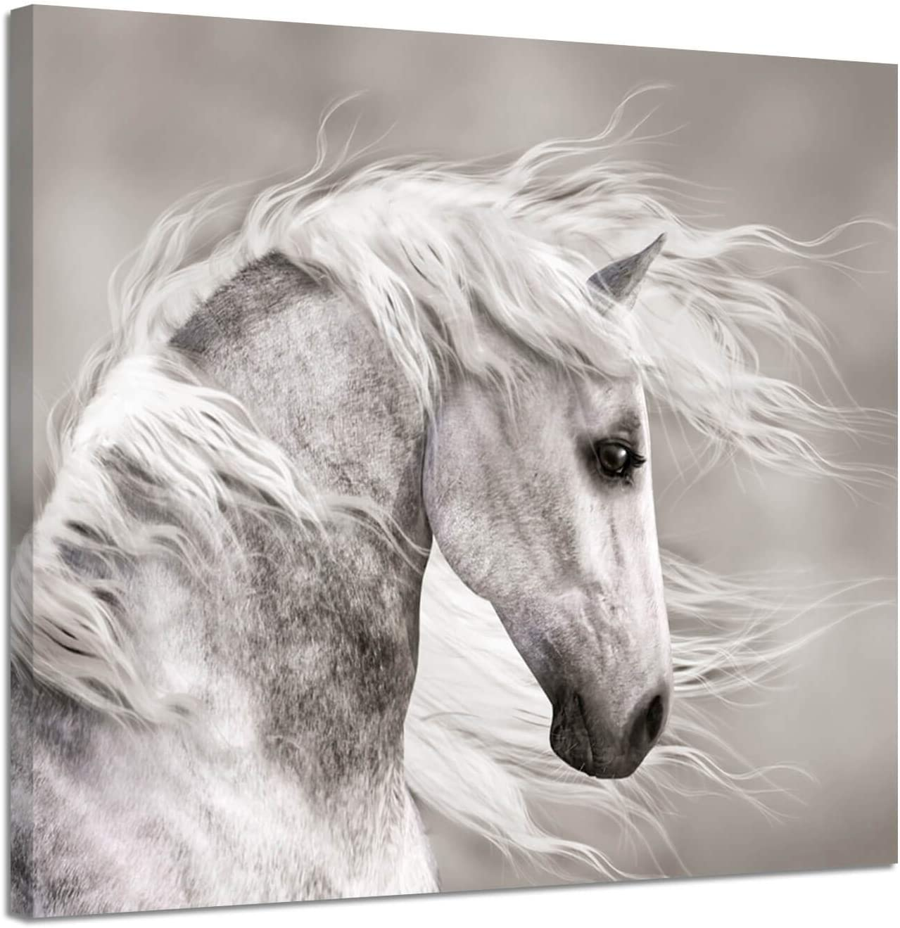 Animals Artwork Wildlife Picture Painting: White Horse Head Graphic Art Print for Wall Decor