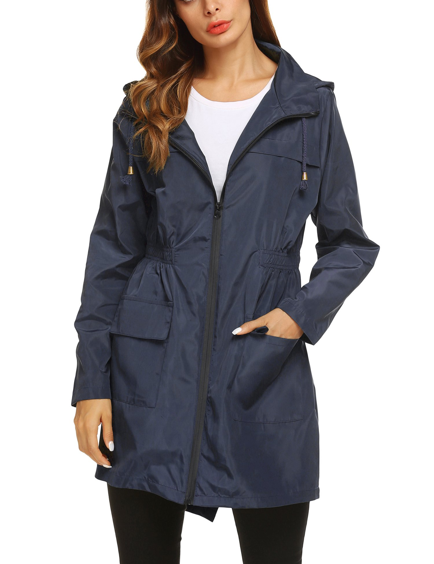 ZHENWEI Womens' Waterproof Lightweight Trench Raincoat,Hooded Outdoor Hiking Windbreaker Long Rain Jacket