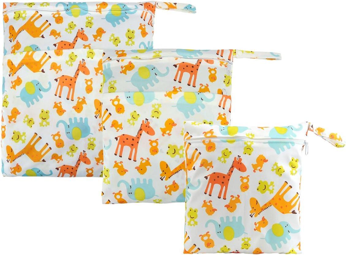 Faleto Sac /à Couche de B/éb/é /à Fermeture Eclair Etanche R/éutilisable Lavable 3pcs Chaque Paquet Sac /à Couches Organiseur des Couches-Dessin Animaux Girafe 3pcs