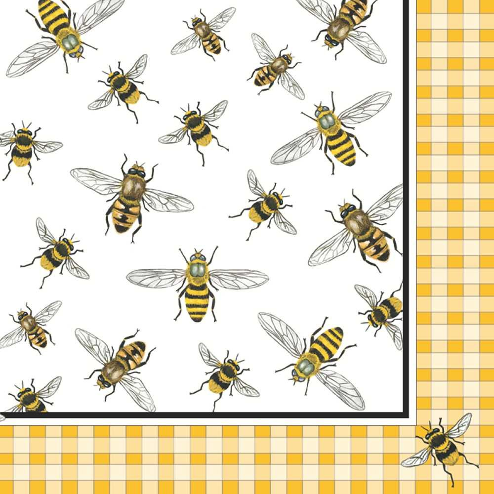 Paperproducts Design 7761 Lunch Napkin with Exquisite Honey Bees Design, 6.5 x 6.5'', Multi