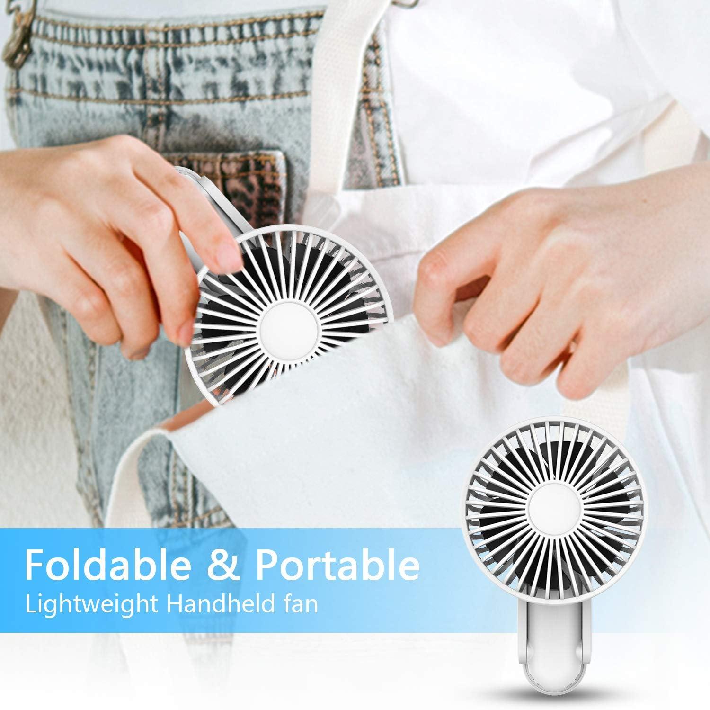 Foldable Mini Handheld Fan, ITSHINY Portable Fan, Desk fan, Table Cooling Fan 3 Speeds USB Rechargeable Fans for Home Travel Sport Outdoor Camping Office White