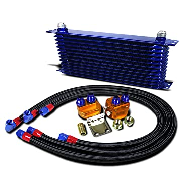 Universal azul aluminio 13-row enfriador de aceite del motor + filtro de aceite kit de reubicación: Amazon.es: Coche y moto