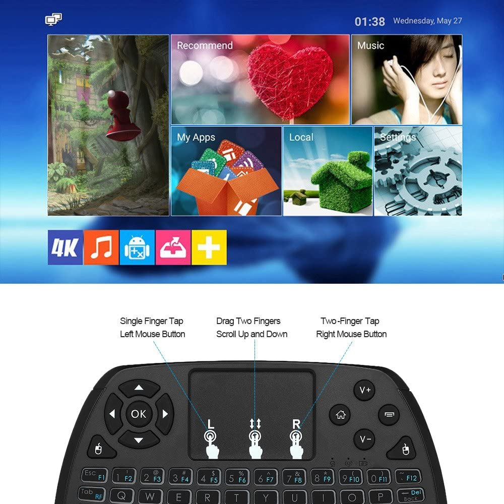 Docooler 2.4GHz Mini Wireless Keyboard Touchpad Mouse Handheld Remote Control 4 Colors Backlight Rechargeable Keyboard for Android TV Box Smart TV PC Notebook
