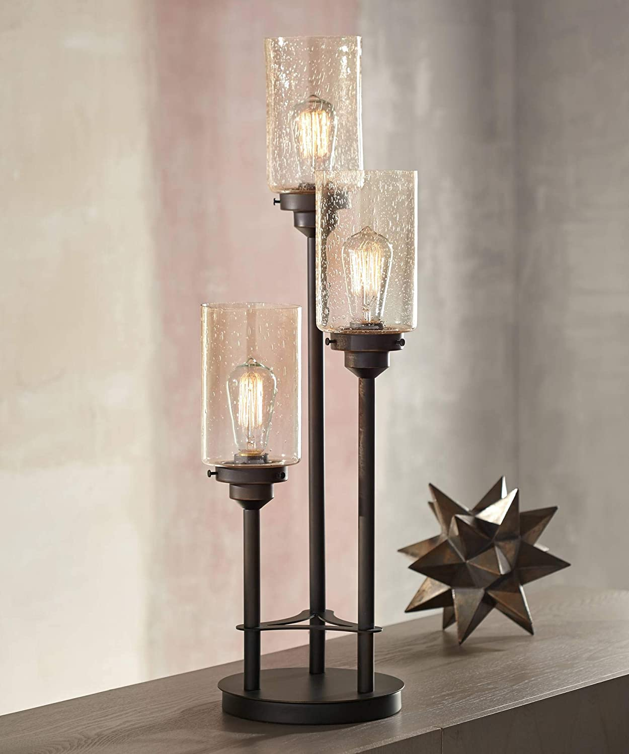 Libby Modern Industrial Console Table Lamp Bronze 3-Light Amber Seedy Glass Shade for Living Room Bedroom Office