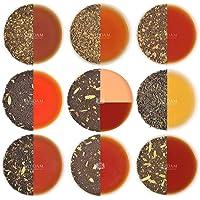 Chai Tea Sampler - 10 TEAS, 50 porzioni | SPEZIE NATURALI 100% | Tè Masala Chai originali dell'India | Brew Hot, Iced o Chai Latte | Set varietali per il tè e set da tè - Chai Tea Foglia sfusa 100gr