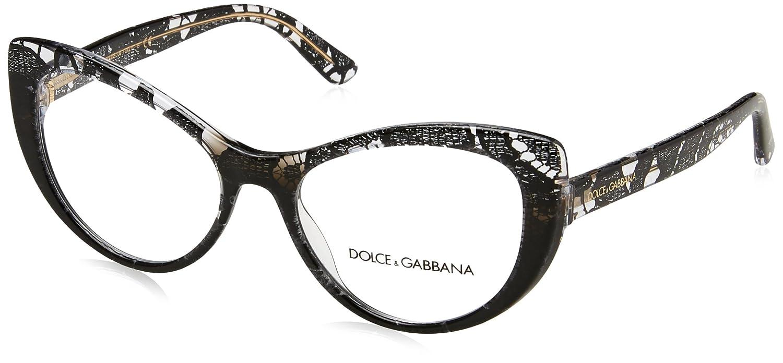 815b0c6694a0 Amazon.com  Dolce   Gabbana frame (DG-3285 3152) Acetate Black print -  Transparent Crystal  Clothing