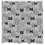 Funny Cat Shower Curtain Cheap bathroom Accessory Waterproof Mildew Resistant 12 Plastic Hooks Included