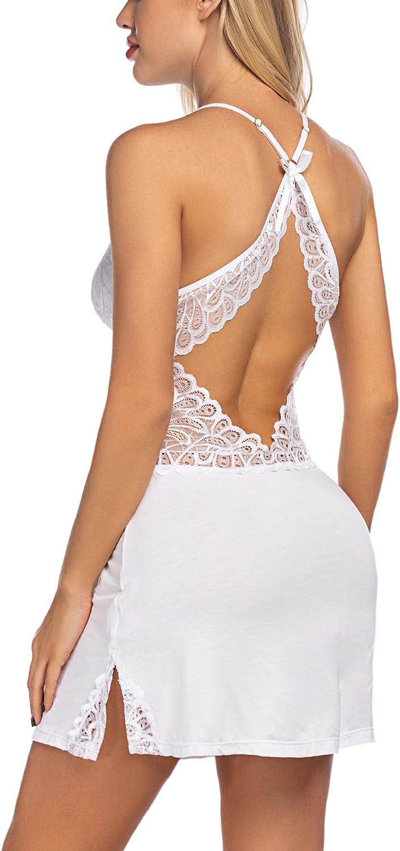 ADOME Women Lingerie Full Slip Chemise Lace Babydoll Sleepwear Nightgown Dress