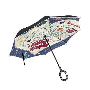 mydaily doble capa paraguas invertido coches Reverse paraguas londres big ben Doodle resistente al viento UV