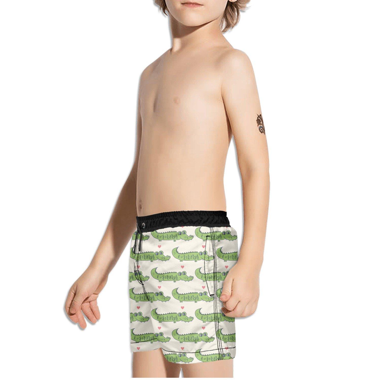 FullBo Cartoon Alligator Animal Pattern Little Boys Short Swim Trunks Quick Dry Beach Shorts