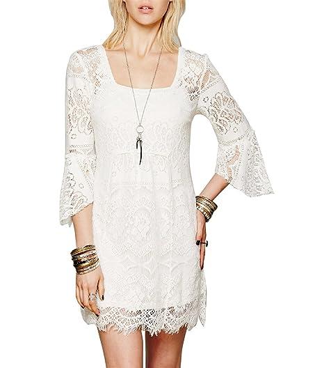 SuperLouisa Fashion primavera meia manga vestido de renda com forro flor padrão oco rendas sexy short