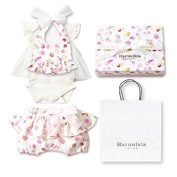 9d1f3c64cb70a Haruulala Japan(ハルウララ) 出産祝い 女の子 オーガニックベビー服3点セット (スタイ ロンパース
