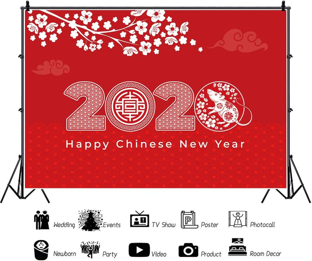 YEELE 10x8ft Chinese New Year Backdrop White Tree Branches Cash Year of The Rat Photography Background 2020 Spring Festival Portrait Photo Booth Prop Digital Wallpaper