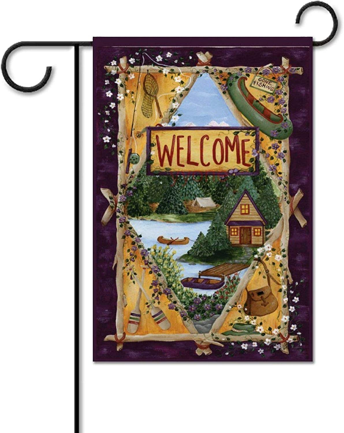 yyone Garden Flag Double Sided Lakeside Welcome Colorful Lake Cabin Outdoors Canoe for Patio Lawn Rustic Farmhouse Flag Yard Outdoor Decoration 12 X 18 Inch