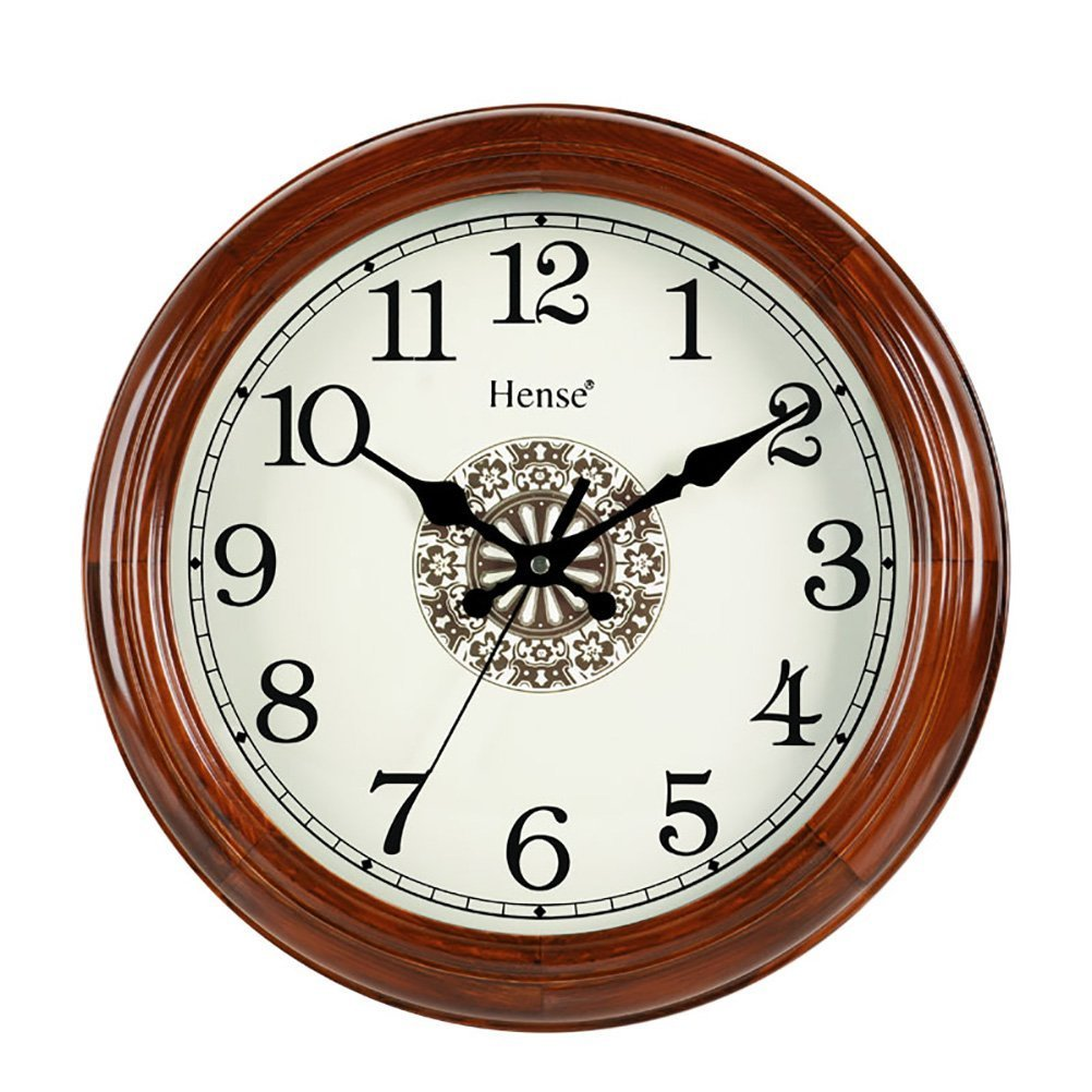 Hense 14-Inch Large Wood Wall Clock Retro Vintage Style Decorative Clocks Battery Operated Quartz Analog Silent Movement Wall Clock for Home Kitchen Living Room Arabic Numerial Dial Non Ticking HW18 AX-AY-ABHI-105146