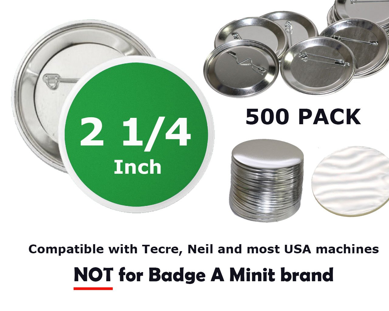 2.25 inch Round Back-Pin Buttons (500 Pack) Sets for Badge Making 2 1/4'' (56 mm) by UpickDeals