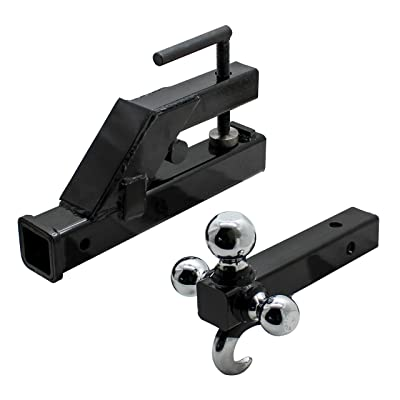 Extreme Max 5001.1376 Clamp-On Tractor Bucket Receiver Adapter and Tri-Ball Hitch with Tow Hook: Automotive