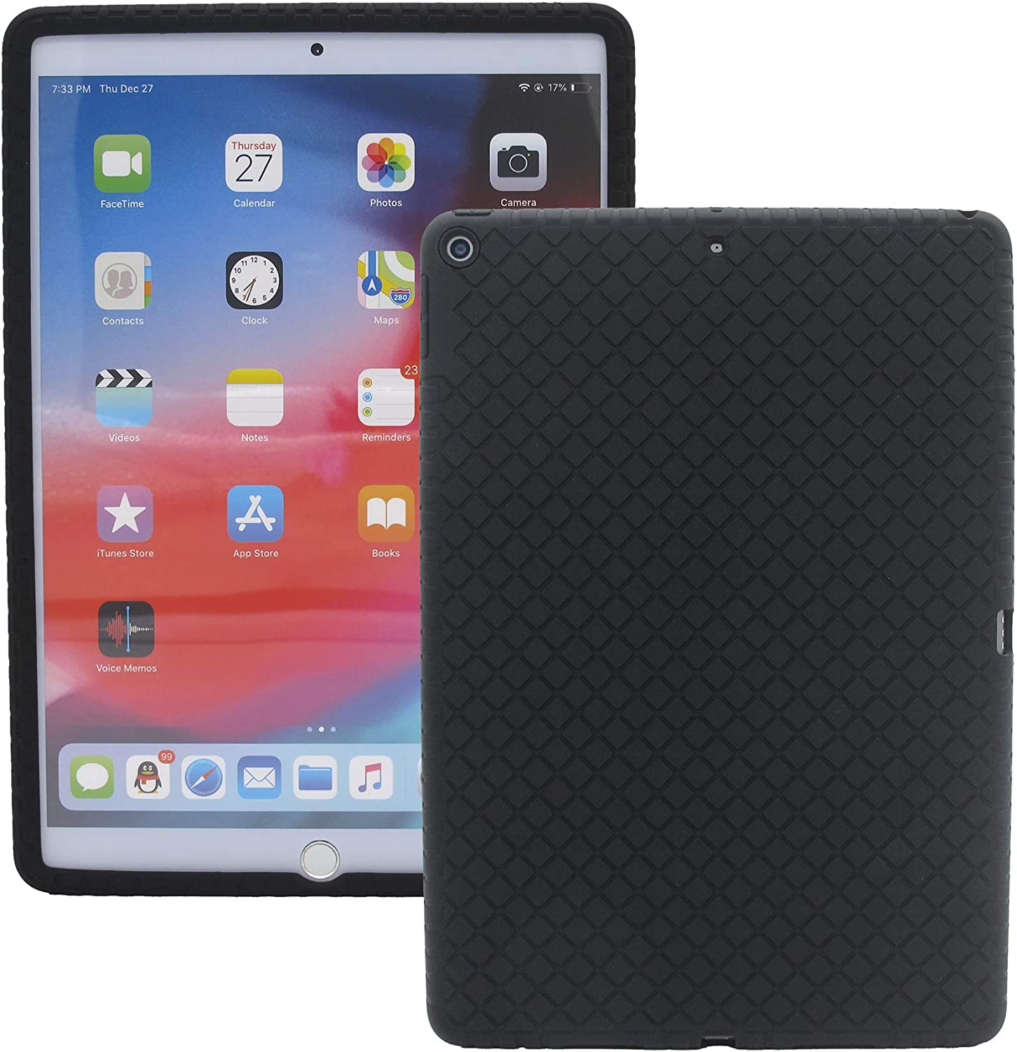 Veamor iPad 10.2 Inch Silicone Back Case Cover, Anti Slip Rubber Protective Skin Soft Bumper for Apple iPad 8th (2020) / 7th Gen (2019), Kids Friendly/Lightweight/Ultra Slim/Shockproof (Black)