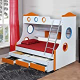 Royaloak Remo Double Size Engineered Wood Bunk Bed with Pull Out Storage (MDF - White and Orange)