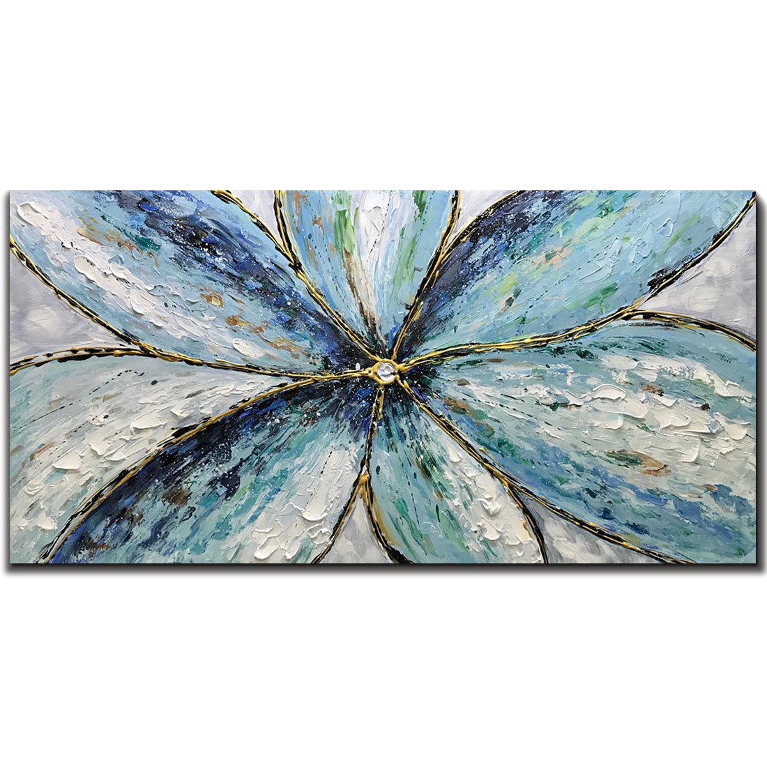 Metuu Modern Canvas Paintings, Texture Palette Knife Orchid Flowers Paintings Modern Home Decor Wall Art Painting Colorful 3D Flowers Wood Inside Framed Ready to hang 24x48inch