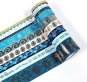 10 Rolls Decorative Washi Tape Set Scrapbooking Supplies Japanese Paper Masking Adhesive Sticky for Scrapbook Craft Decor with 4 Sizes Decorative Tape Scrapbooking Supplies Tape Craft Making Tape