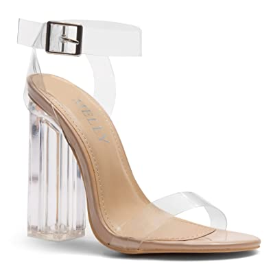 6d6e7ae638 Herstyle Women's Cllaary Perpex Heel, Ankle Strap with and Adjustable  Buckle Clear Nude 6.0