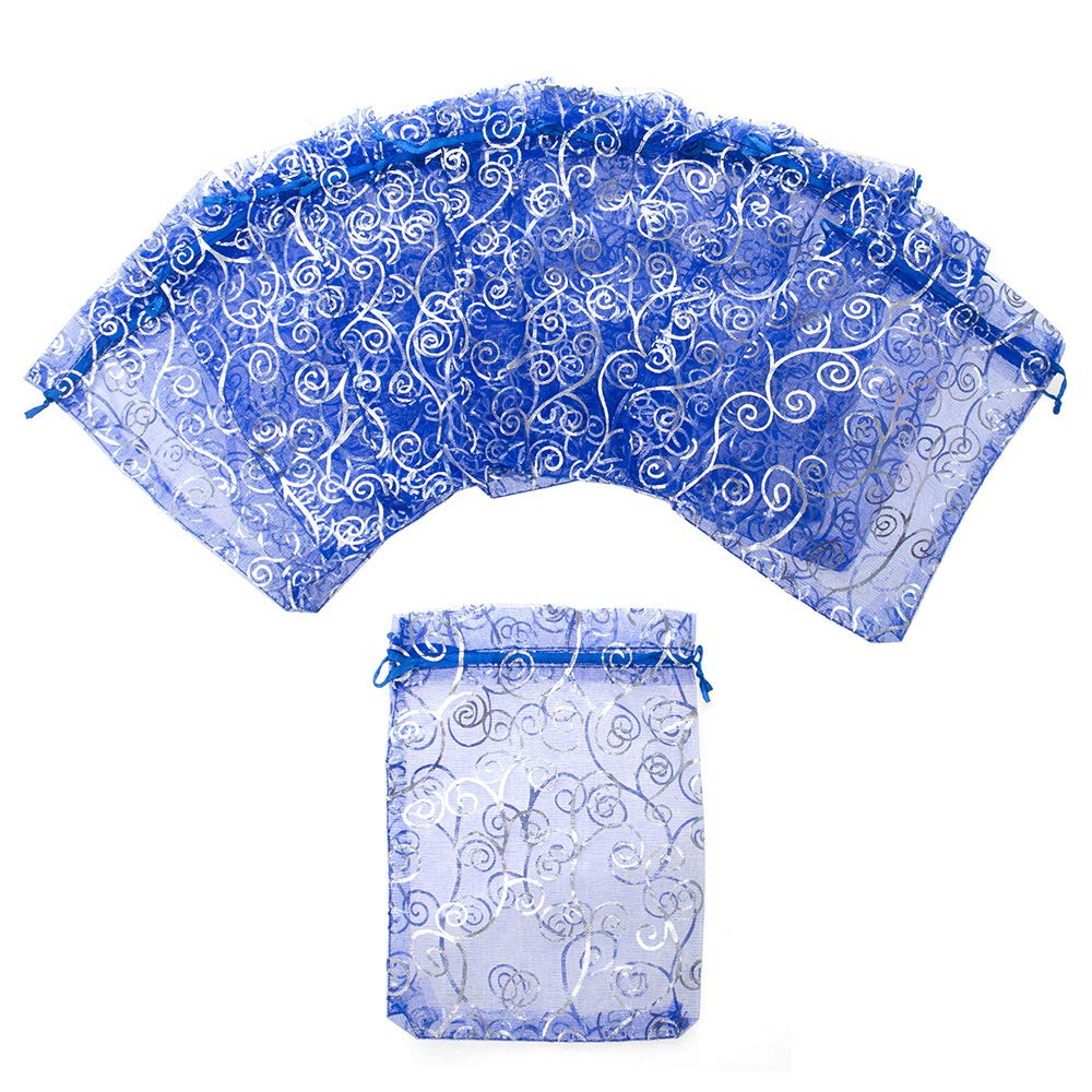 Aspire 200 Pieces Eyelash Organza Drawstring Pouches, 3 1/2'' x 4 3/4'' Royal Blue Jewelry Candy Bags