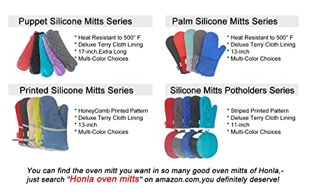 743ac0235497 Amazon.com  Honla 17-Inch Extra Long Oven Mitts with Non-Slip Silicone Grip  - Heat Resistant to 500° F,1 Pair of Kitchen Oven Gloves for Cooking,Baking  ...