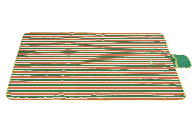 ZGYZ Picknickdecke Wasserdichte Große Camping Wandern Decke Strandtücher mit Tote, Tote, Tote, Frühling Sommer Grün und Orange Streifen Picknick Zubehör im Freien,145  180cm B07NY16GRY Picknickdecken Fein wild f13201