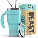 BEAST 30 oz Teal Tumbler Set with Teal Handle - Stainless Steel Coffee Cup + 2 Straws Brush, Gift Box & Teal Handle