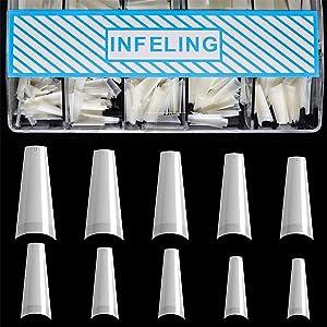 Nail Tips Coffin Shape - Natural Acrylic Nail Tips 500pcs Half Cover French Nail Tips with Box, INFELING False Nails Fake Nail Tips for Nail Salons and DIY Nail Art at Home, 10 Sizes