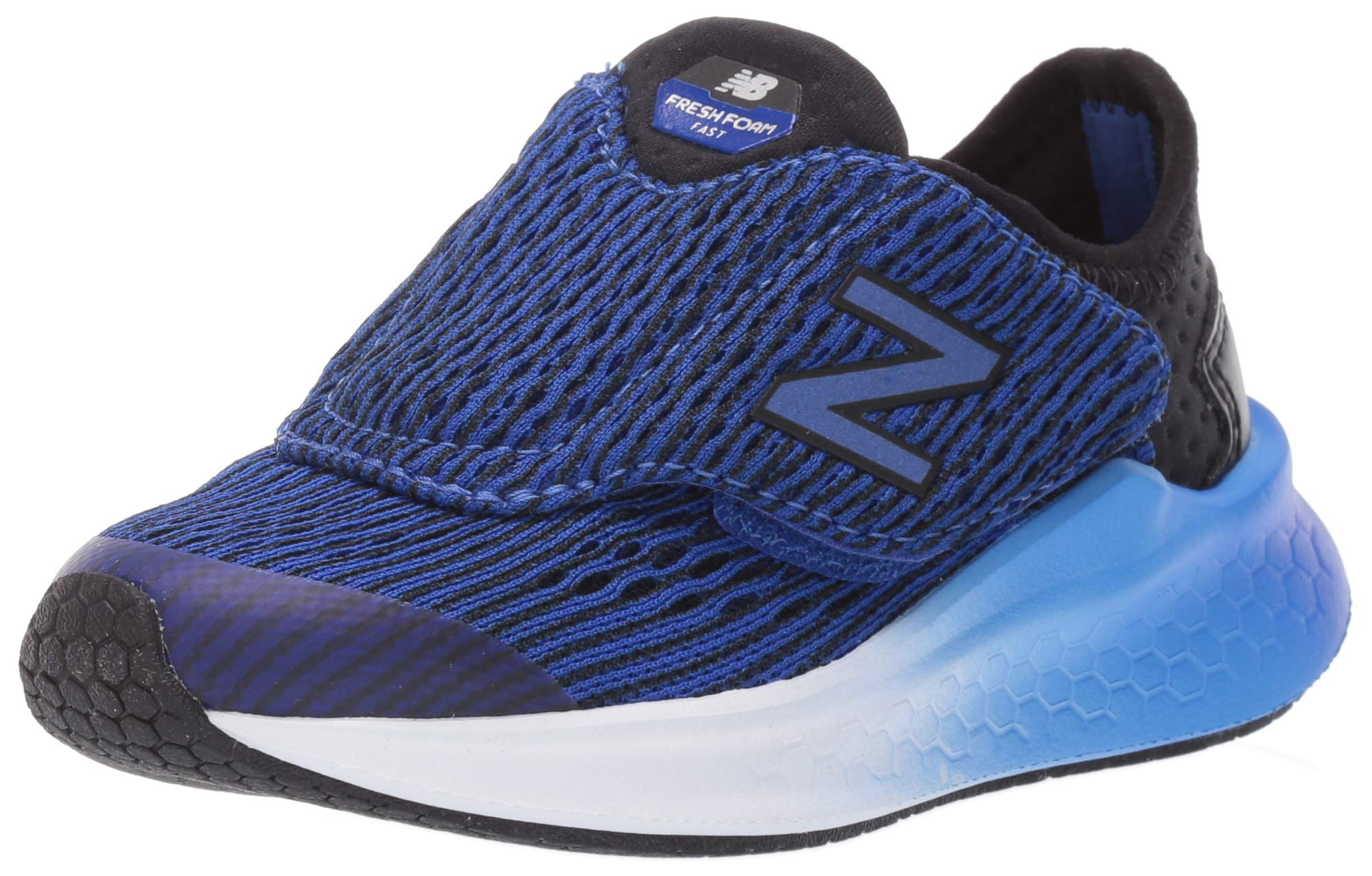 New Balance Boys' Fast V1 Fresh Foam Hook and Loop Running Shoe Black/uv Blue 2.5 W US Little Kid