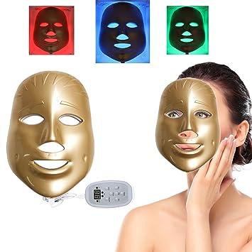 Feisui 3 Colores Luz fotón Led Máscara Facial Skin Rejuvenecimiento de terapia de belleza, Recargable