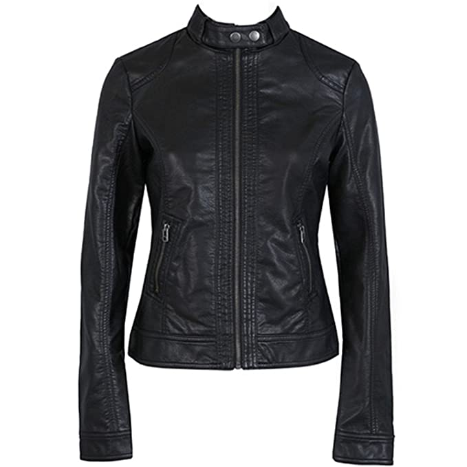 da39c0be9 DADAWEN Women's Black Slim Motorcycle Soft PU Leather Short Jacket Coat