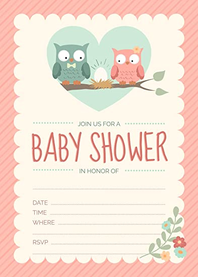 Amazon Owl Baby Shower Invitations Pink For Girl 24 Count