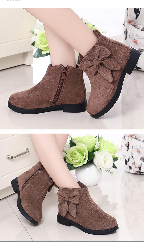 JINGJING Girls Fashion Bowknot Faux Fur Lined Shoes Warm Winter Ankle Boot Toddler//Little Kid