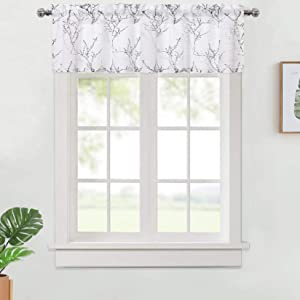 "Haperlare Black Grey Valance for Bathroom, Branch Tree Pattern Valance Curtains for Windows, Rod Pocket Farmhouse Linen Textured Botanical Tree Kitchen Valance Curtain Cafe Curtains, 54"" W x 15"" L"