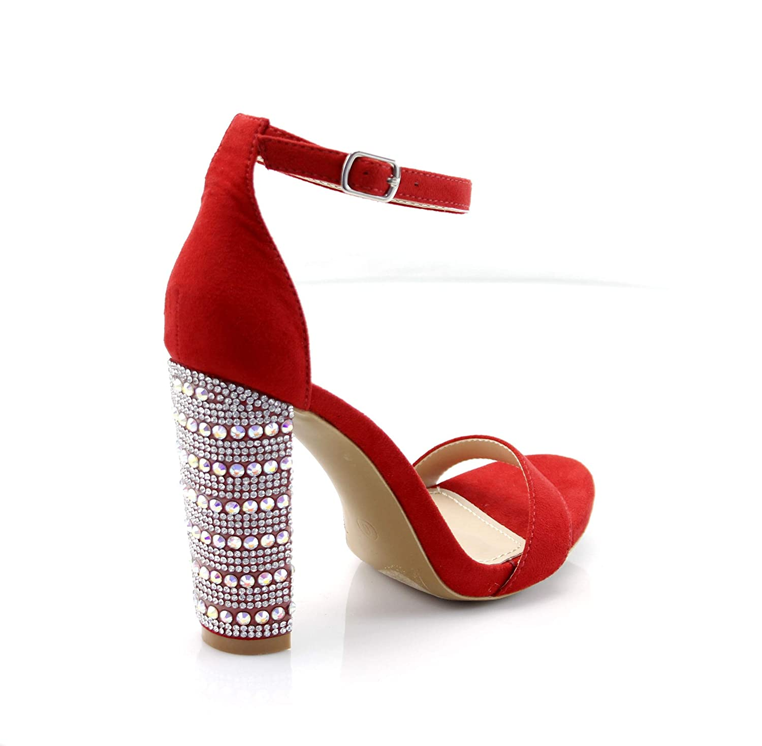 380f1b9604 Amazon.com | FOREVER VOGUE Women's Open Toe Chunky Block High Heel Fashion  Sandals Ankle Strap Rhinestone Party Shoes | Heeled Sandals