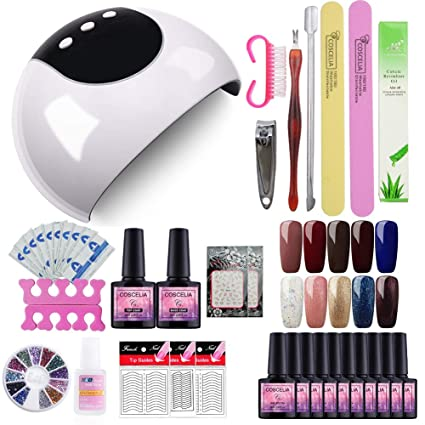 Saint-Acior 24W UV/LED Uñas Lámpara Secador de Uñas Kit Uñas de Gel
