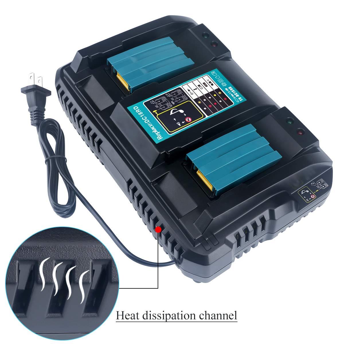 18 Volt Dual Port Charger for Makita 18V LXT Lithium-Ion Battery BL1815 BL1830 BL1840 DC1850 BL1860 LXT400 Cordless